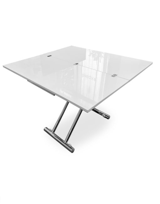 Transforming-table-space-saver-evolved-in-converted-table-form-in-glossy-white-with-chrome-legs