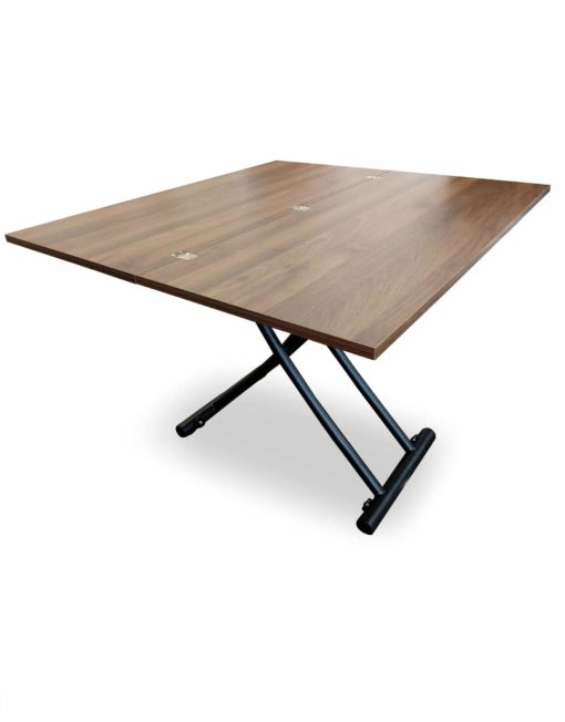 Transforming-table-space-saver-evolved-in-converted-table-form-in-walnut-chocolate-finish-and-black-legs