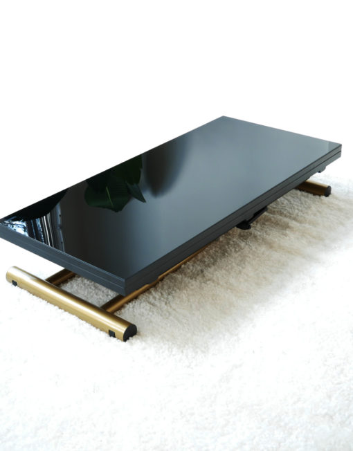Transforming table with black glass and gold legs 2