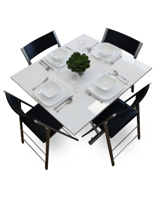 white-gloss-Transforming-table-evolved-opened-into-dinnner-set-with-nano-chairs