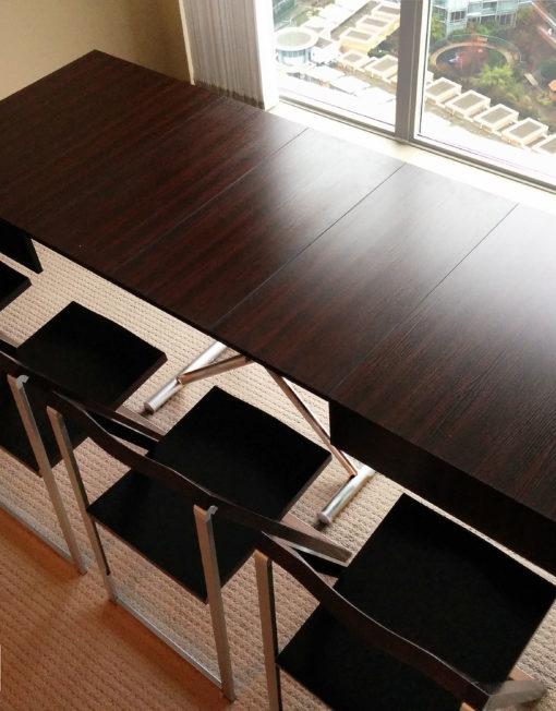 Box-Coffee-Table-in-walnut-with-pendulum-chairs