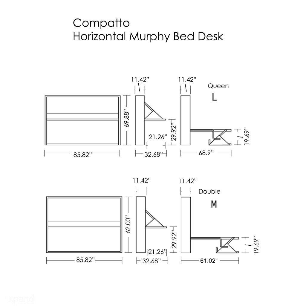Compatto horizontal wall bed desk dimensions