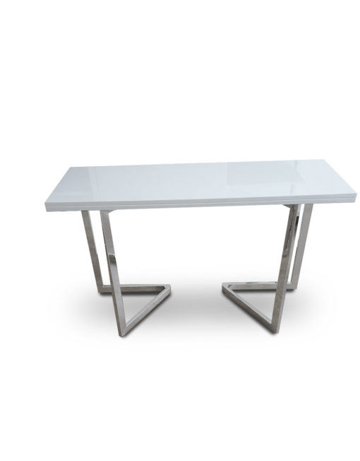 Console-to-Dining-Table-in-Glossy-white-with-chrome-legs