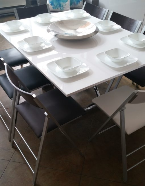 Expand Table paired with Nano folding chairs for transformation furniture