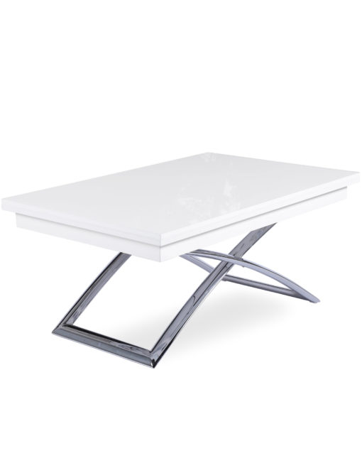 Expand table - coffee transformer dinner table in glossy white with curved chrome legs