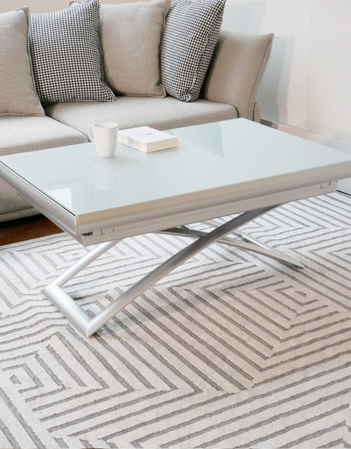 Extending Glass table - Horizon coffee lifting glass coffee table in grey white silver