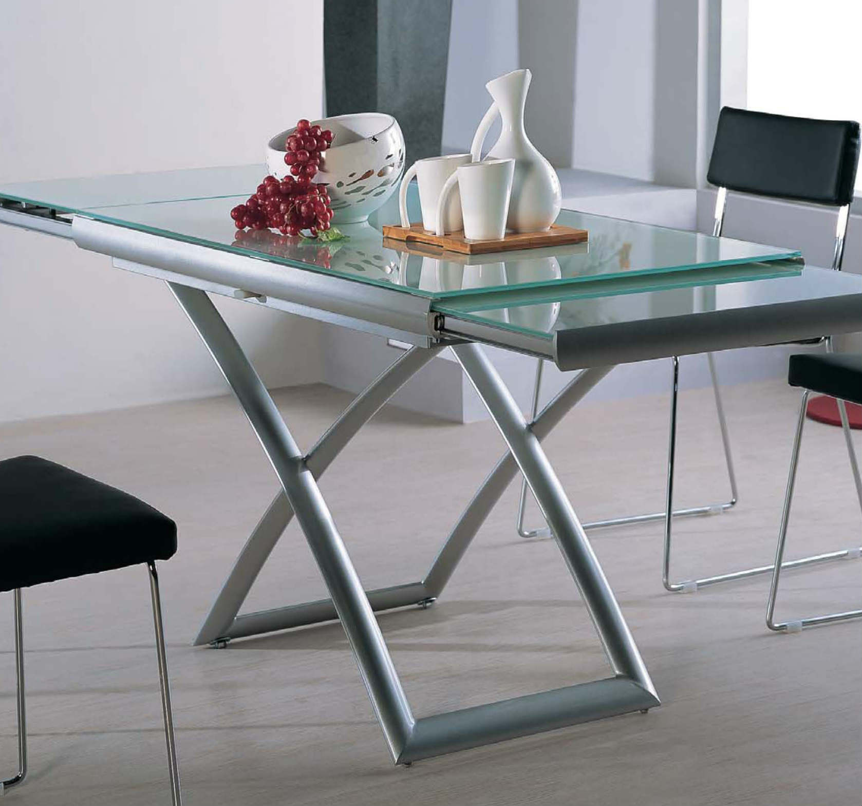 transforming extending glass table expand furniture. Black Bedroom Furniture Sets. Home Design Ideas