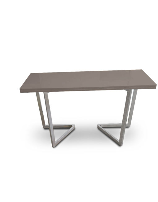 Flip-Console-Table-in-Coffee-grey-with-flat-silver-legs