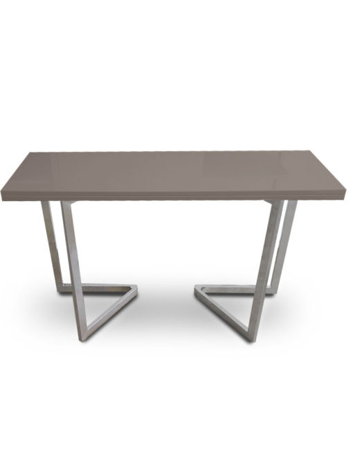 Flip-Console-Table-in-Coffee-grey-with-flat-silver-legs-transforming-furniture-table-solution
