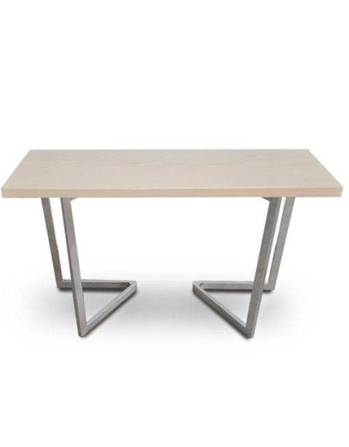 Flip-Console-Table-in-aged-light-ash-flat-silver-legs-transforming-furniture-table-solution