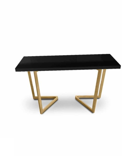 Flip console in glossy black with gold satin legs - doubles in size