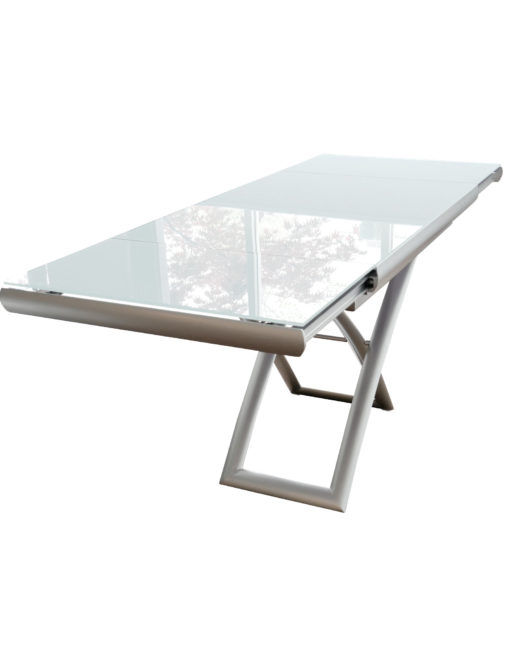Horizon-glass-coffee-table-that-is-height-and-length-adjustable-glass-table-extended-ready-for-dinner