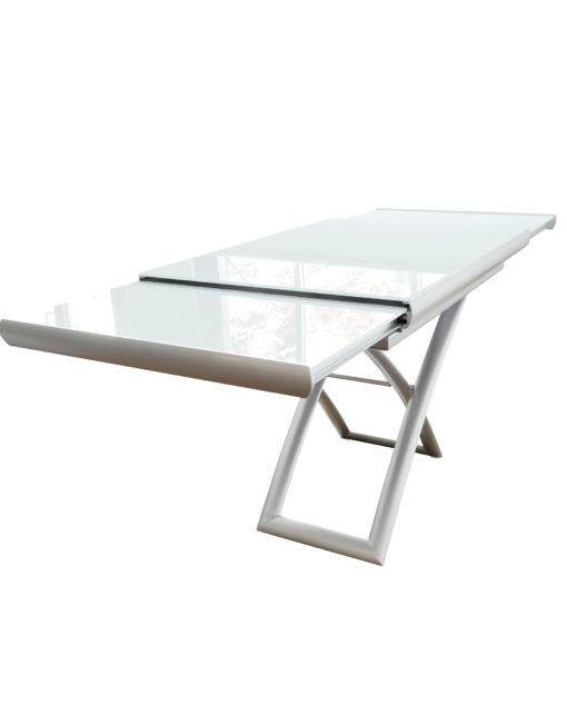 Horizon-height-adjustable-glass-table-partially-extended-showing-metal-work
