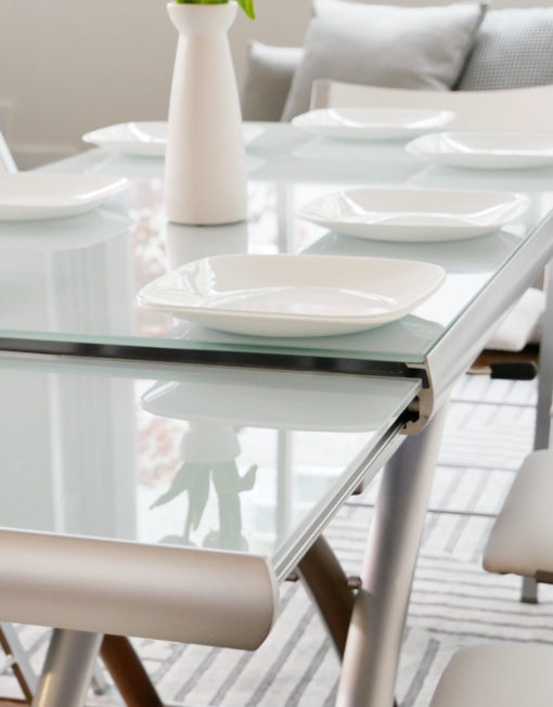 Horizon-white-grey-glass-table-extending-open-ready-for-dinner-transforming-glass-coffee-table