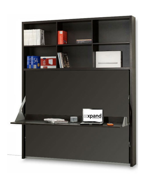 Horizontal-italian-wall-bed-desk-with-vertical-shelving-library