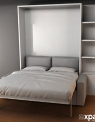 MurphySofa-Clean-wall-bed-open-with-60cm-side-shelving-in-gloss-white