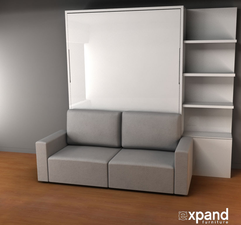 Murphy Bed Sofa Combo The Best Inspiration for Interiors  : MurphySofa Clean wall bed with 60cm side shelving in gloss white from samtog.info size 824 x 768 jpeg 52kB