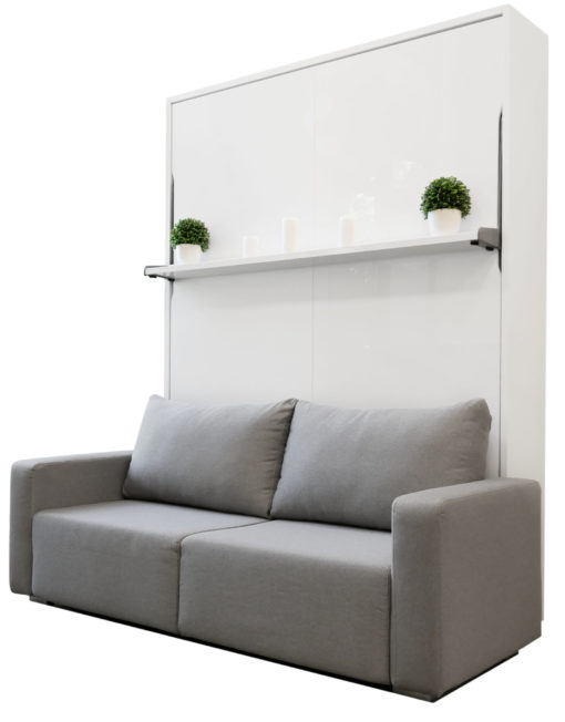 MurphySofa-Float-Clean-grey-sofa-with-white-gloss-wall-bed-and-shelf-on-front