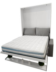 MurphySofa Float Clean grey sofa with white gloss wall bed and shelf on front open in bed form