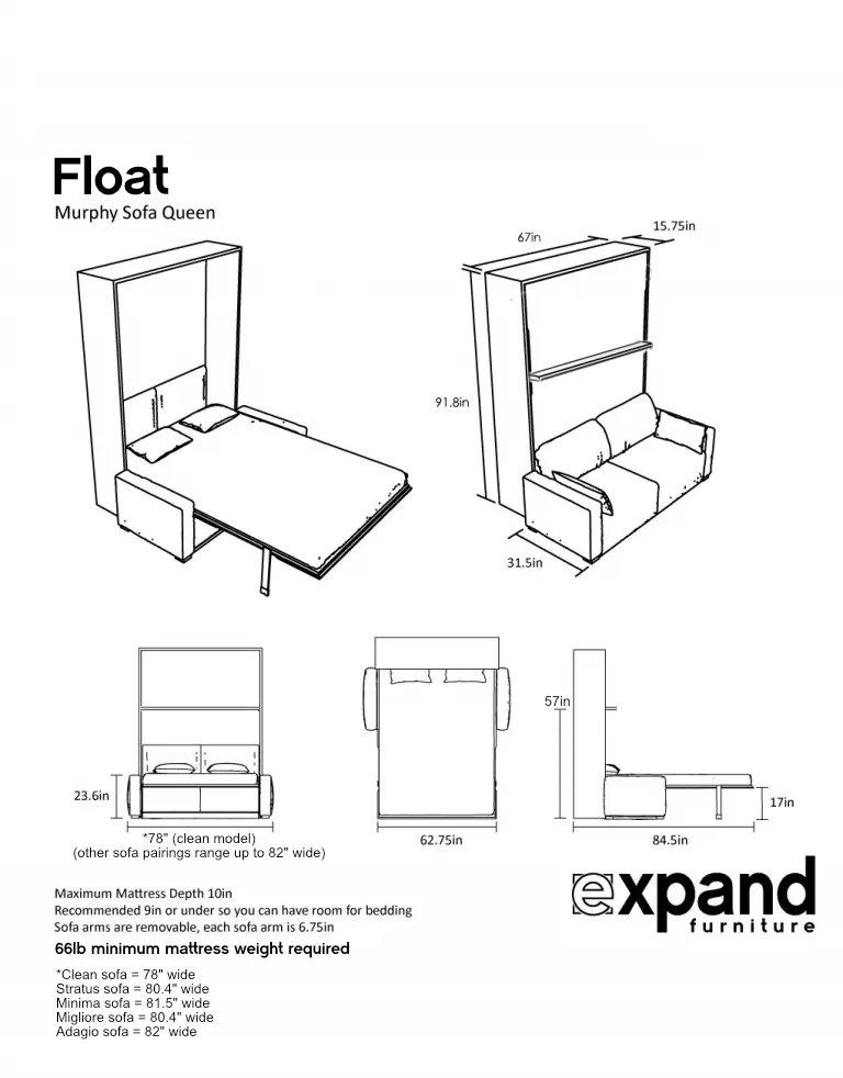 MurphySofa float dimensions multiple sofa models
