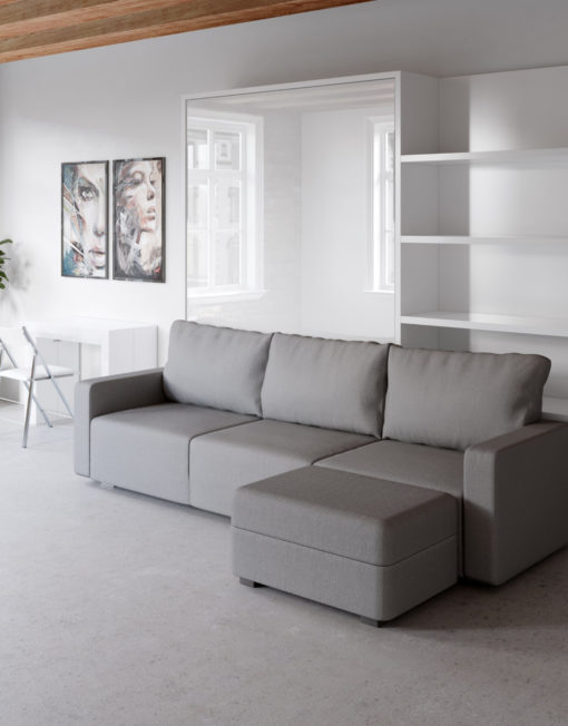 MurphySofa modular clean sectional sofa wall bed system in glossy white with bed closed
