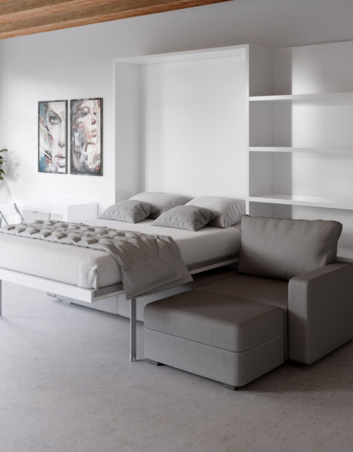 MurphySofa modular clean sectional sofa wall bed system in glossy white with bed open