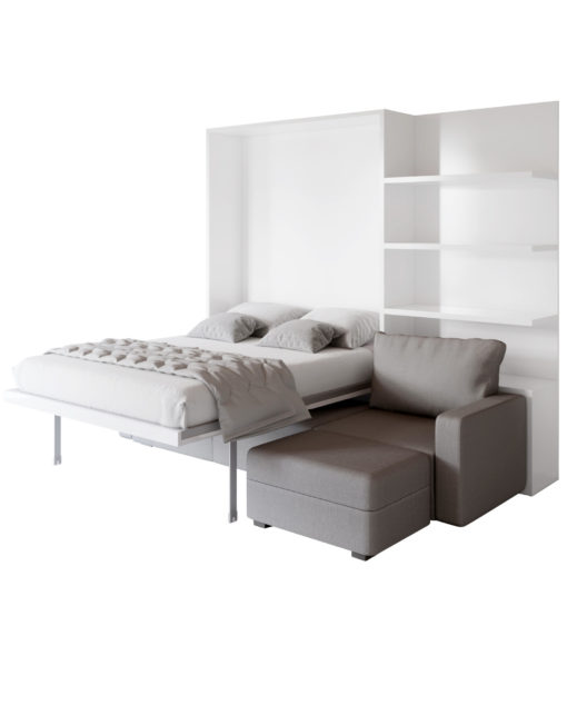MurphySofa wall bed open showing bed over sectional grey sofa