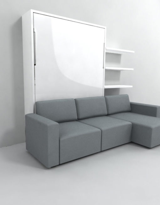 wall bed with sliding chaise and glossy panels