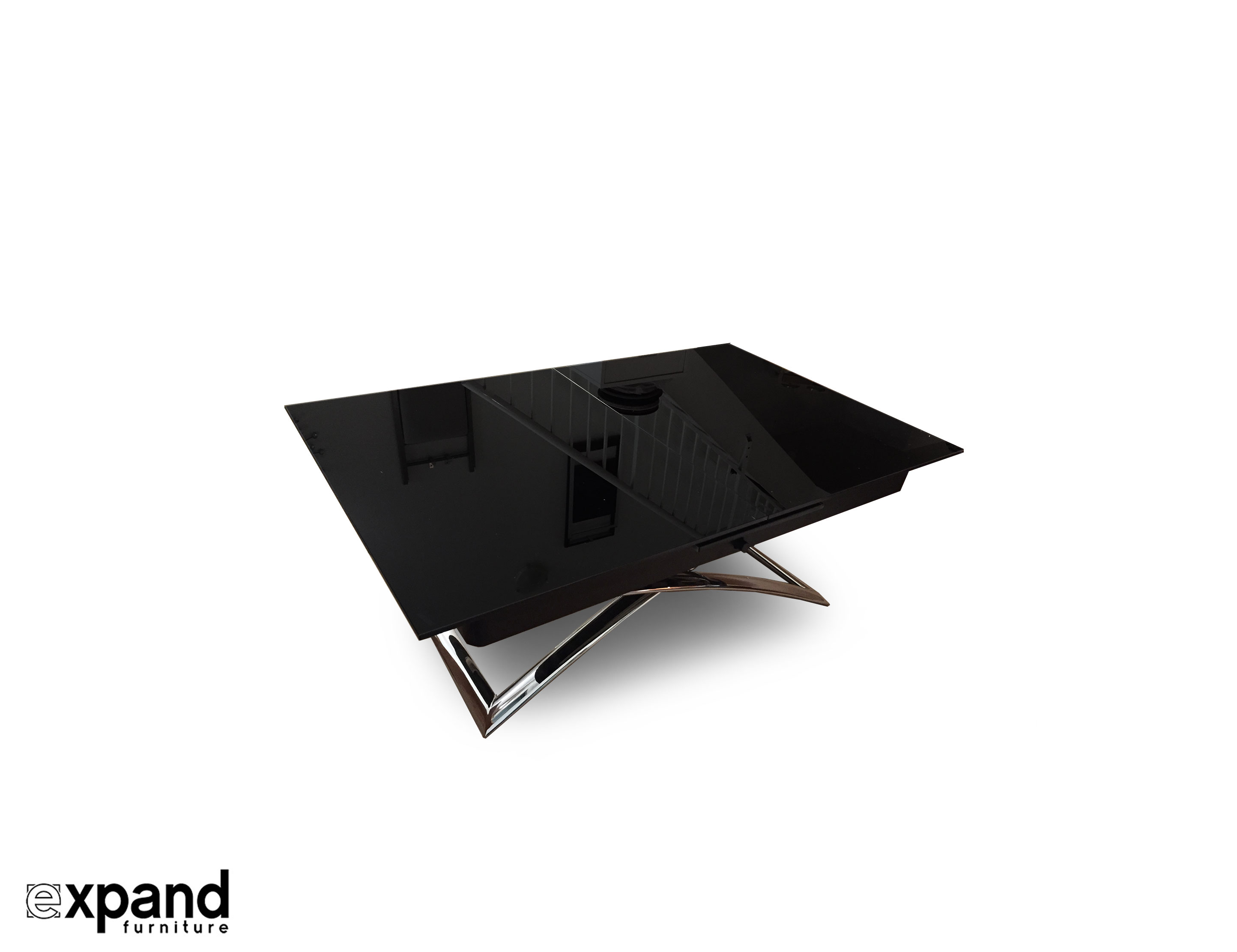 Obsidian Small Glass Coffee Dining Table Convertible In