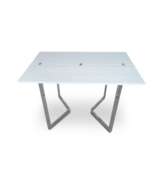 Open-Console-to-Dining-Table-in-Glossy-white-with-chrome-legs