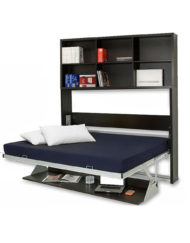 Opened-horizontal-murphy-bed-desk-with-vertical-shelving-library