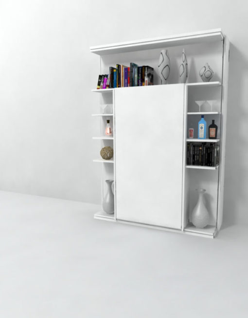 Revolving-italian-wall-bed-with-library-vertical-storage