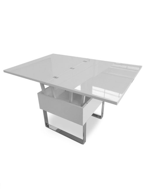 Space-Saving-lifting-coffee-table-in-glossy-white-with-chrome-legs