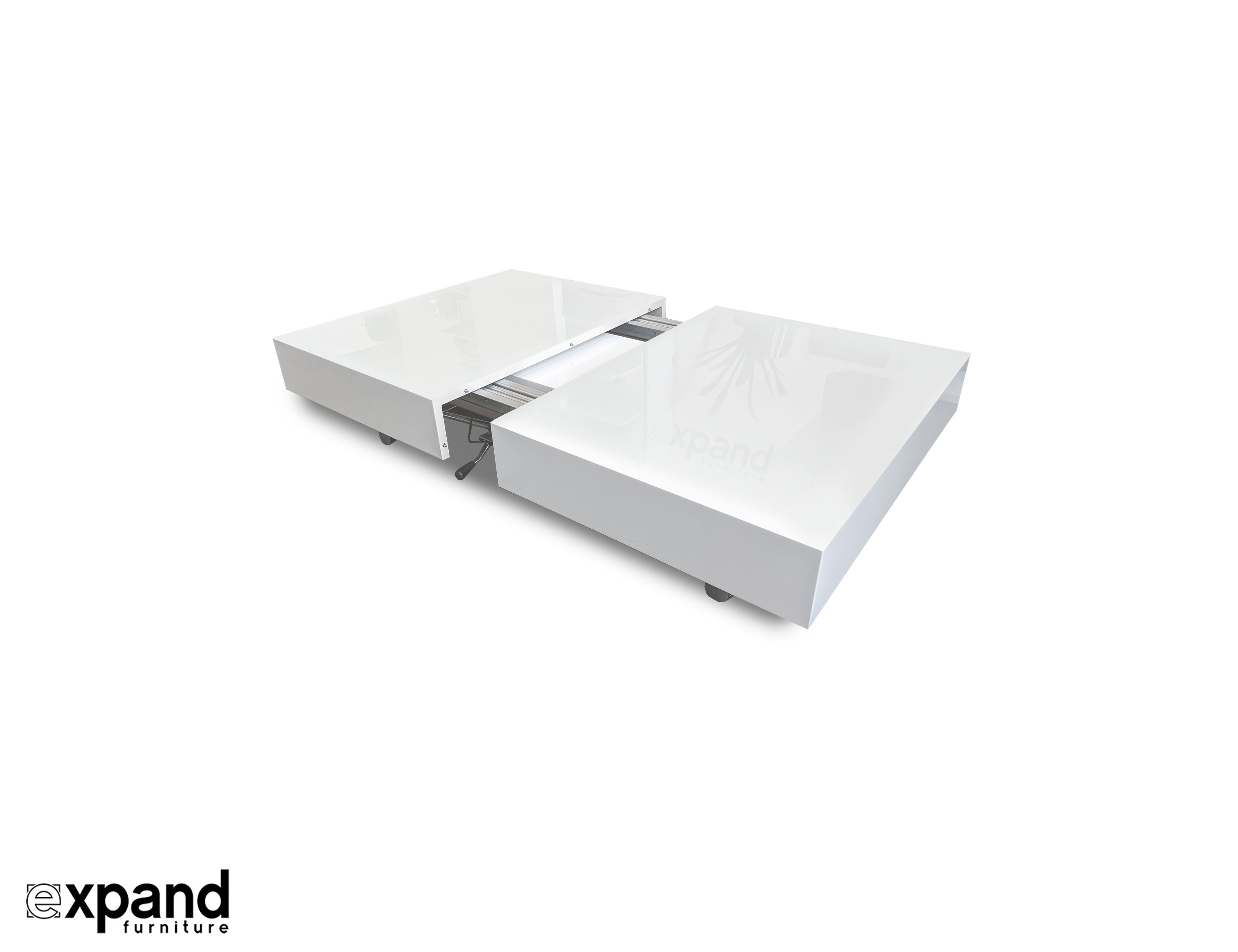 Transforming Box Coffee To Dining Table Expand Furniture - White and walnut dining table