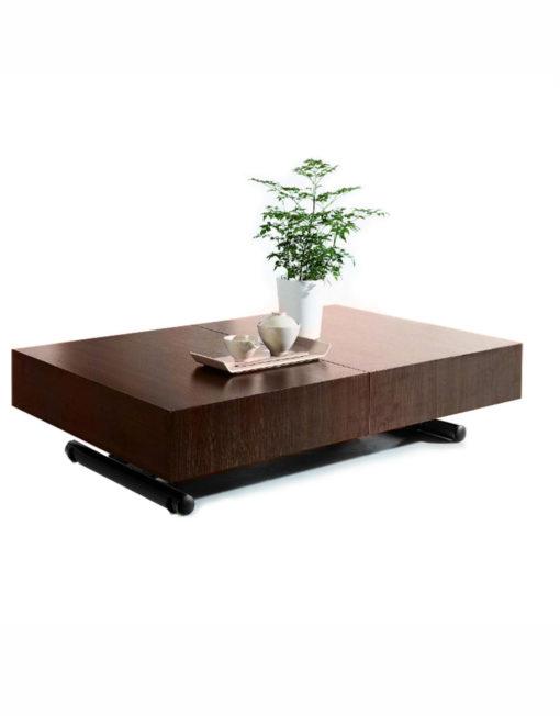 Walnut Wood Box Coffee Table With Black Legs