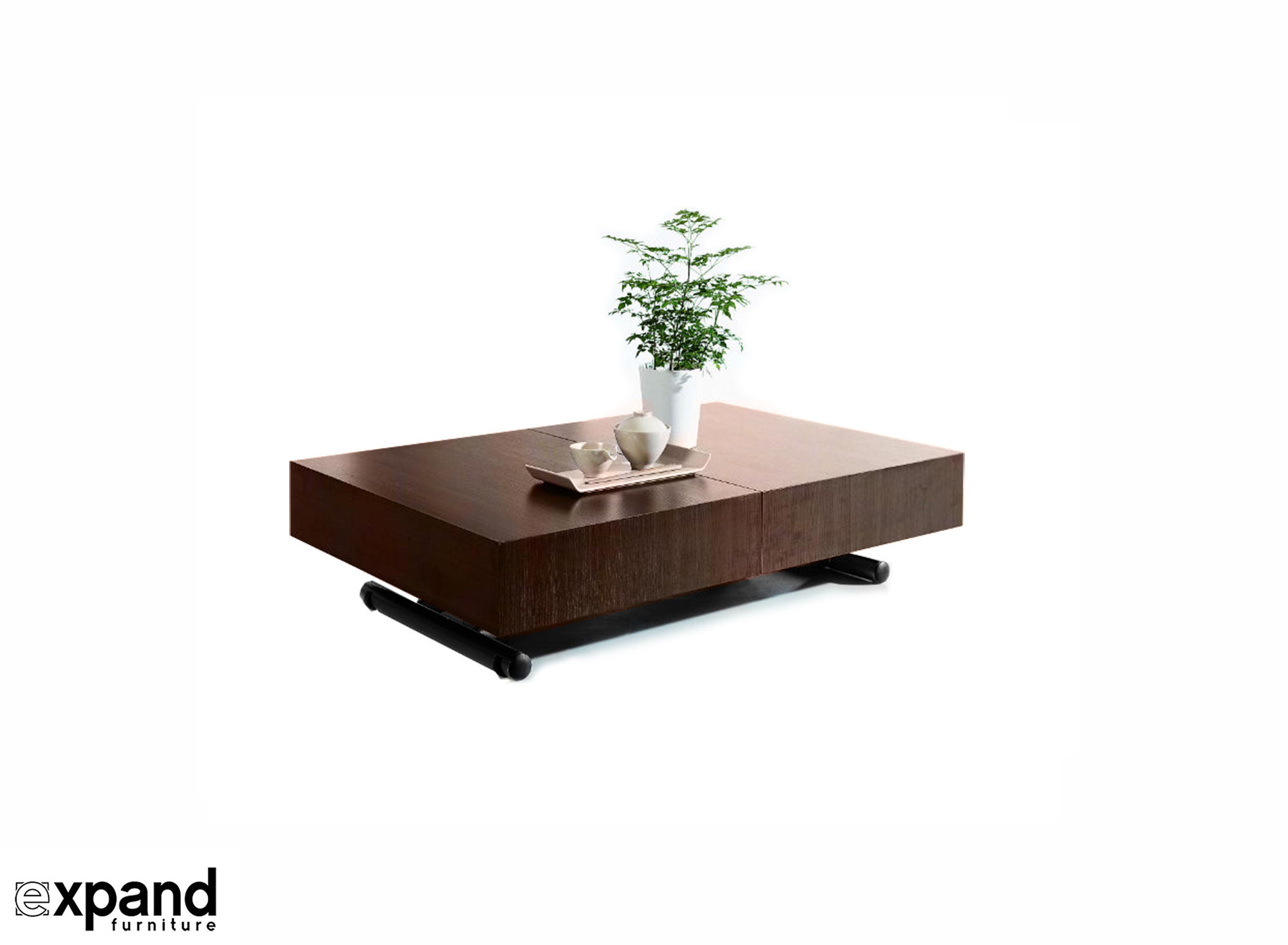 Walnut Wood Box Coffee Table With Black Legs Spacesaving