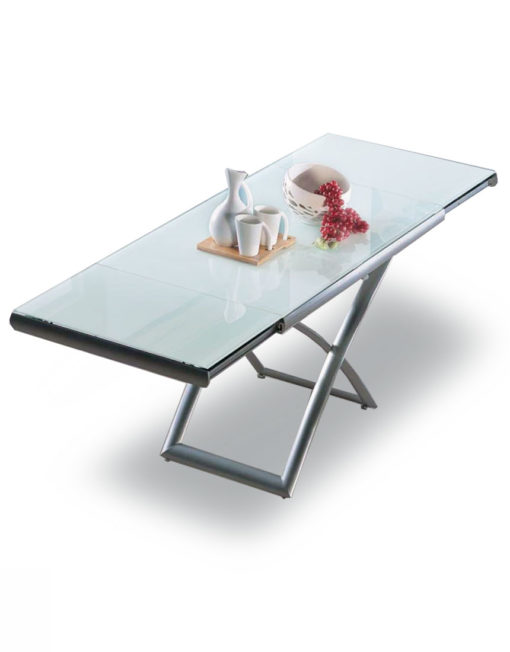 Lifting And Extending White Glass Table