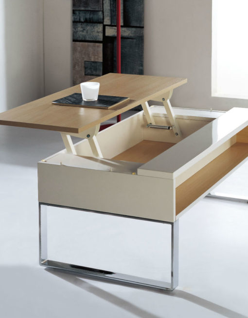 lifting coffee table white gloss and white oak open