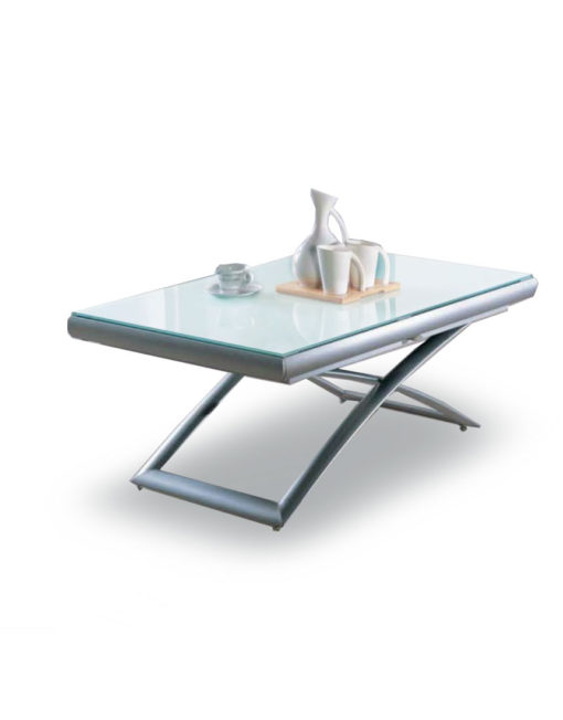 lifting-coffee-to-Extending-white-glass-table