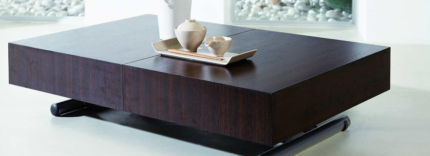 modern box coffee table low profile | expand furniture - folding