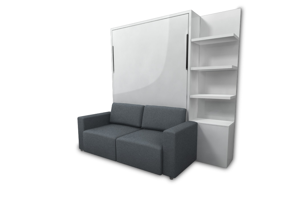 White Murphy Bed With Sofa :