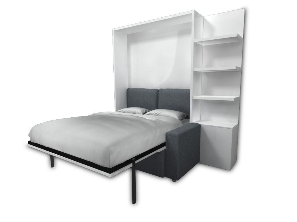 Wall bed color choose an option white gloss Murphy bed over couch