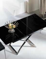 Modern small black glass table extended open Expand Furniture