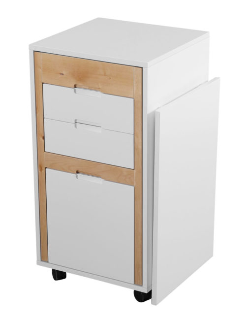 Ludovico Micro office with wood and white mix - modern designer office cabinet desk