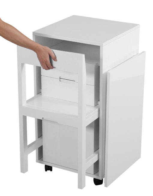 Ludovico glossy white being opened with hidden chair in cabinet