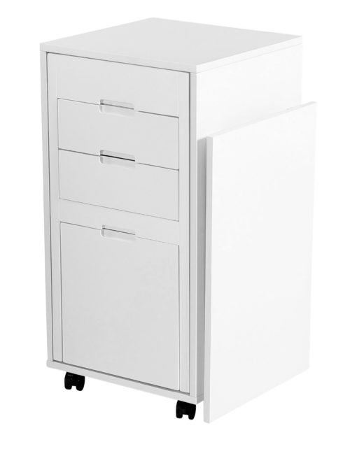 Ludovico micro office hidden chair and table in office cabinet - White matte