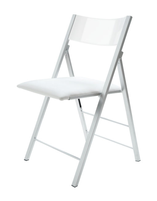 Nano folding chair with glossy white curved back rest and white padded seat and silver metal