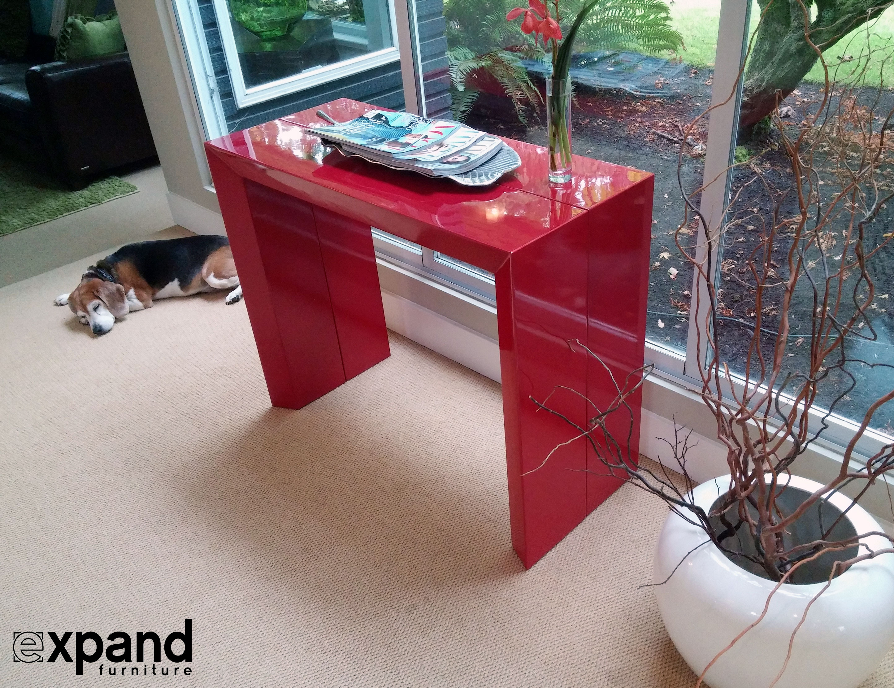 Red Console Table junior giant edge - modern dining table | expand furniture