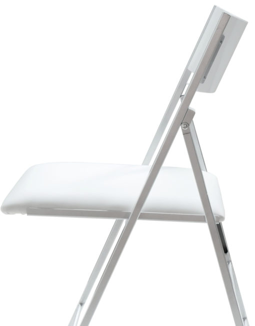 Nano Glossy white folding chair with curved back rest and padded seat with a view from the side