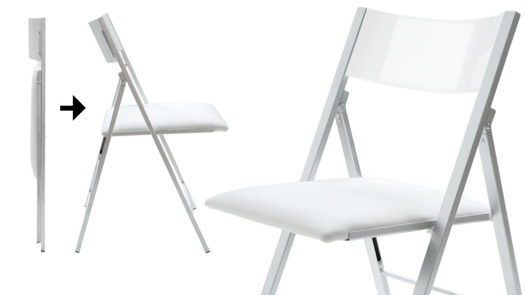 Nano Folding chair splash of how it works in white gloss with padded seat